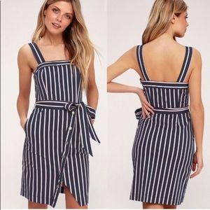 J.O.A. Porto Navy Blue and Pink Striped Dress